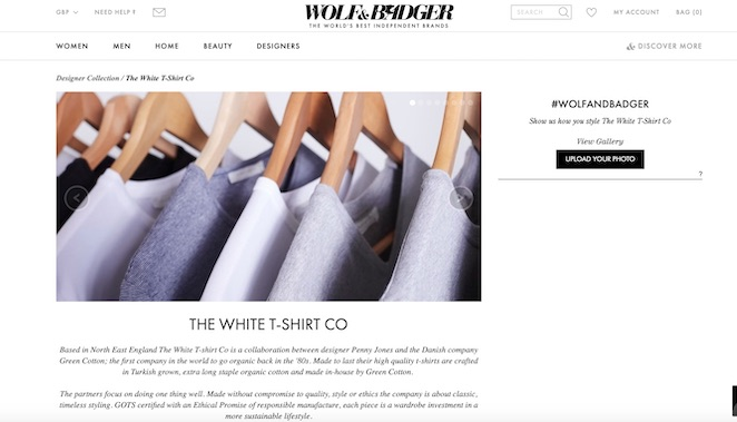 white t-shirt co launch with wolf & badger