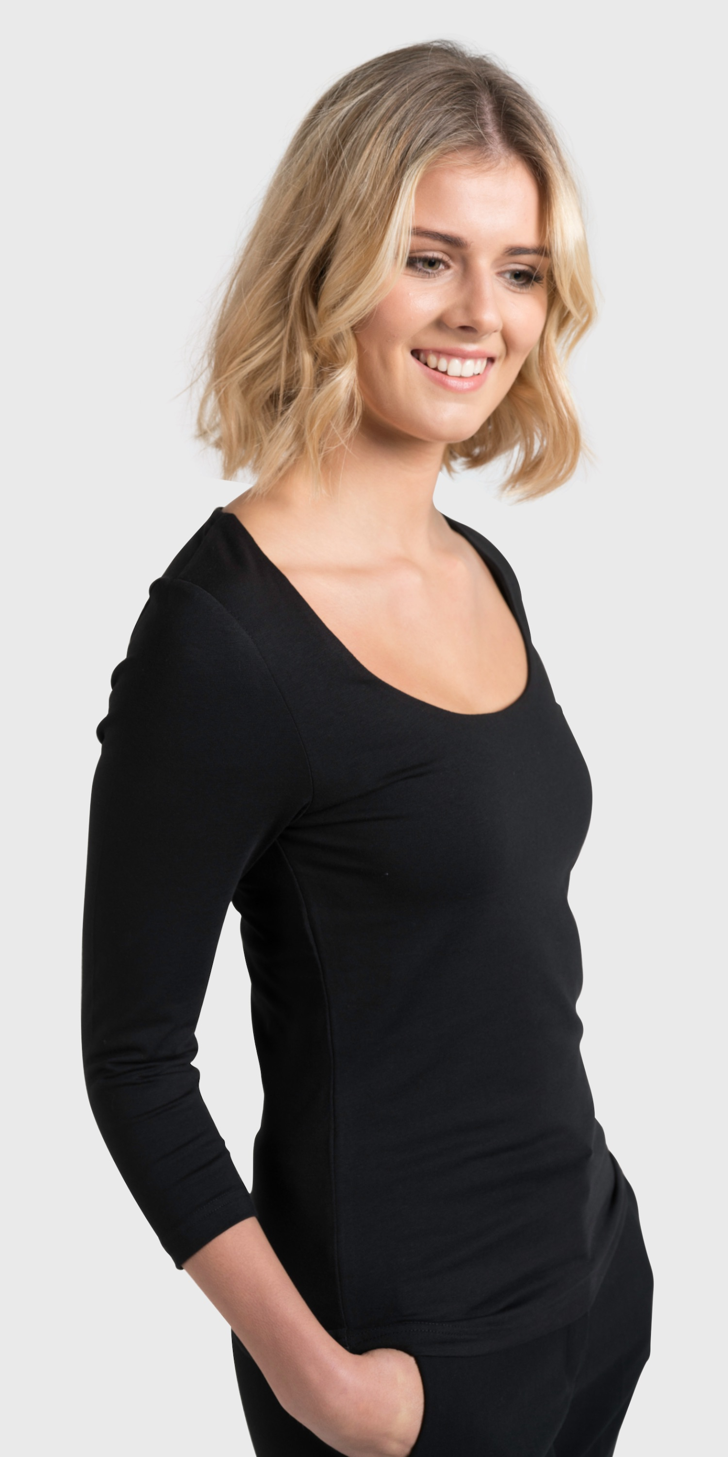 Womens black self faced scoop neck front view