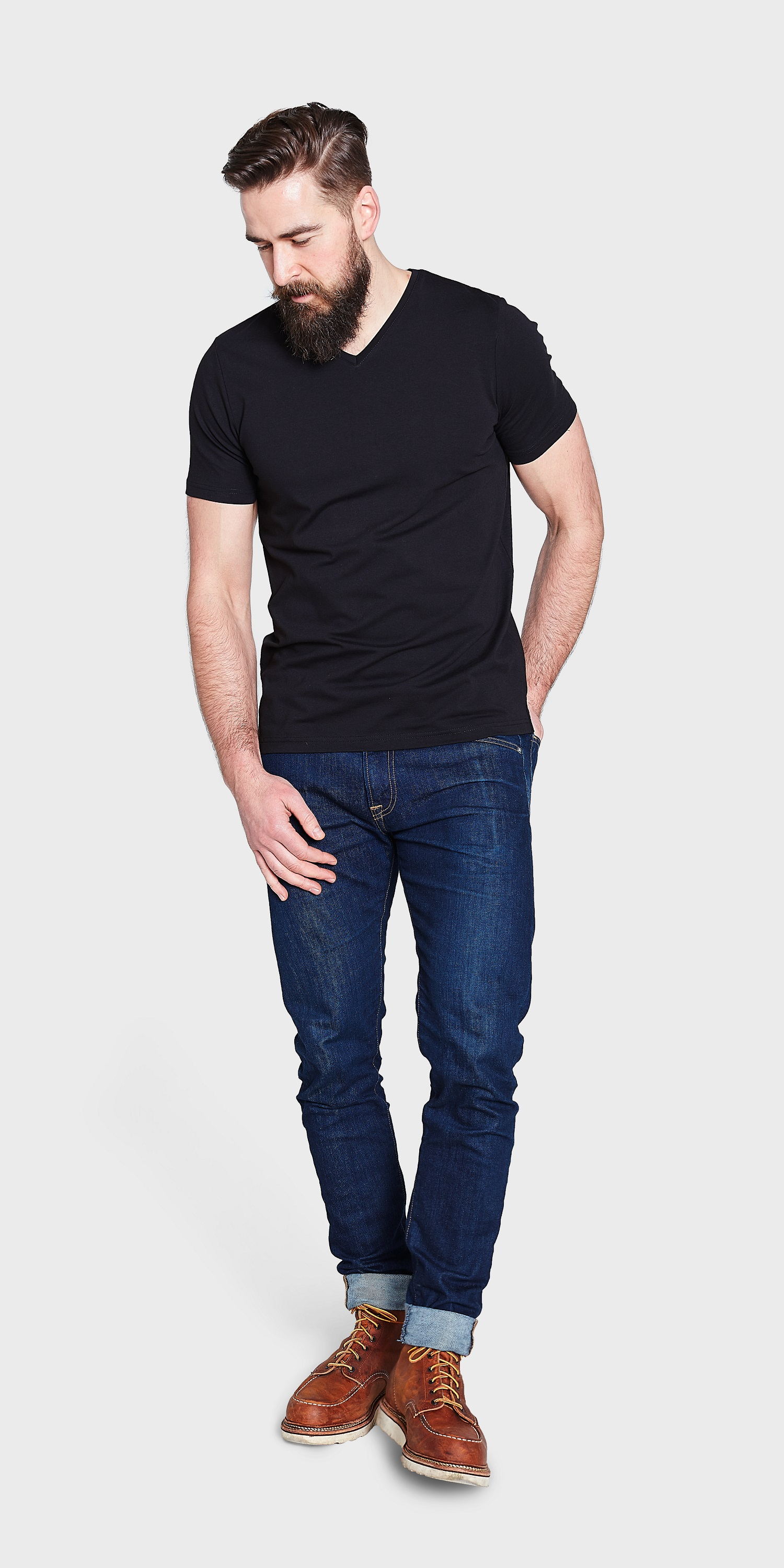Mens v neck t shirt organic cotton V neck black t shirt
