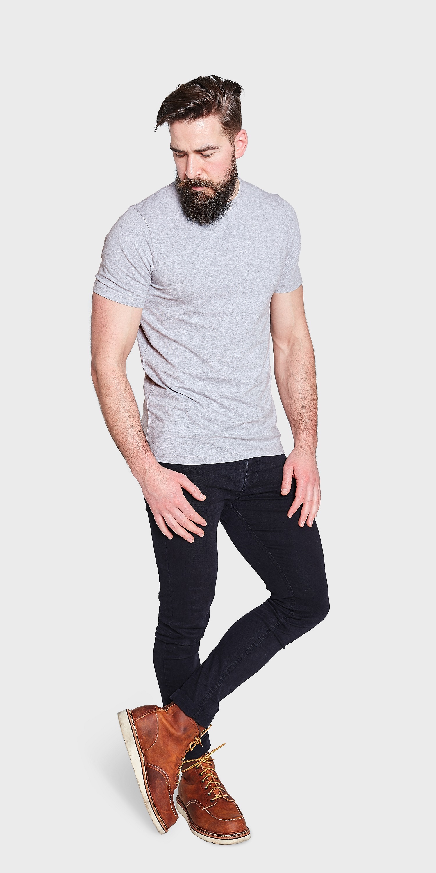 men's fitted grey marl t-shirt