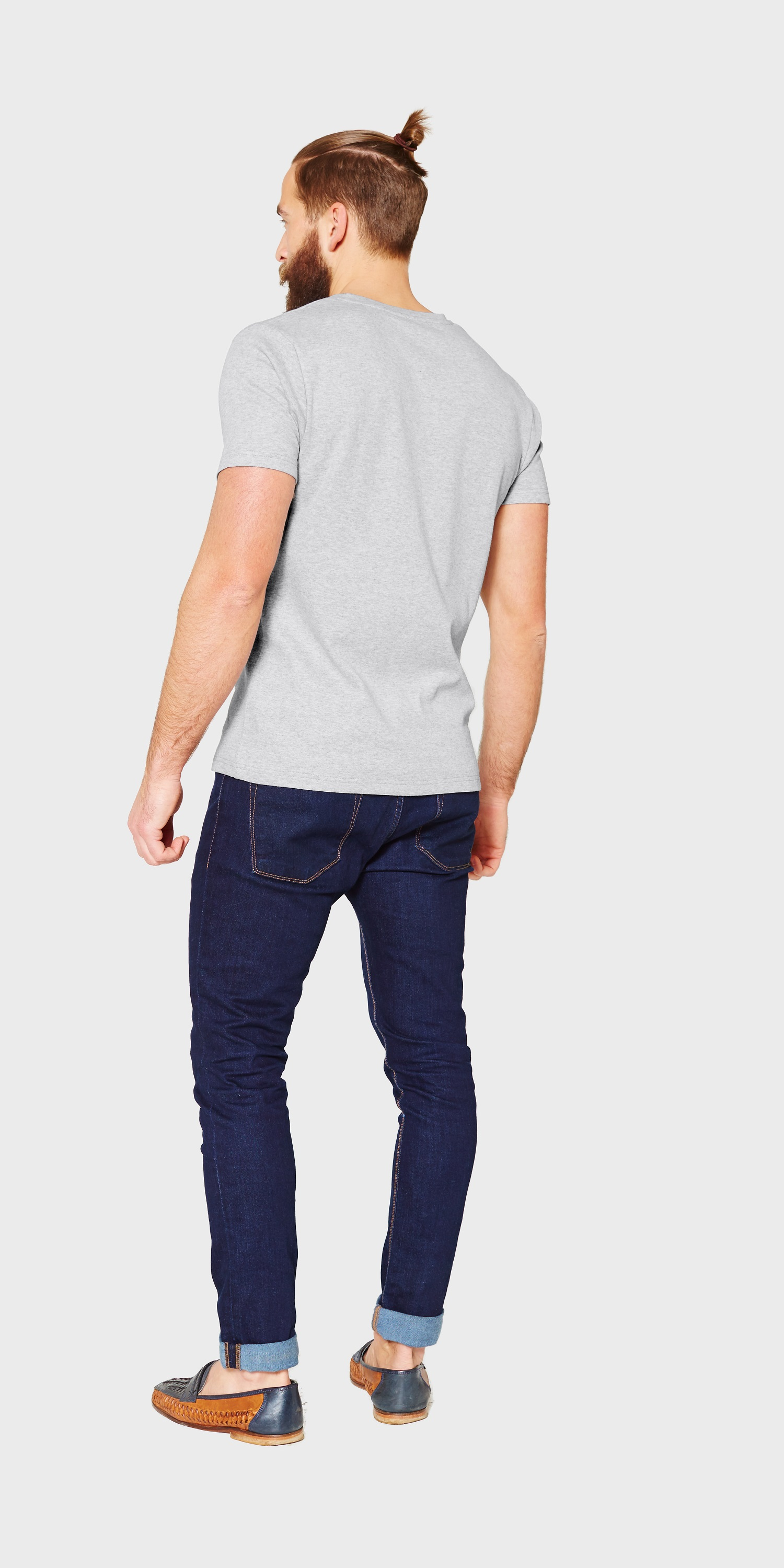 Mens-organic-cotton-grey-marl-round-neck-t-shirt-back-view