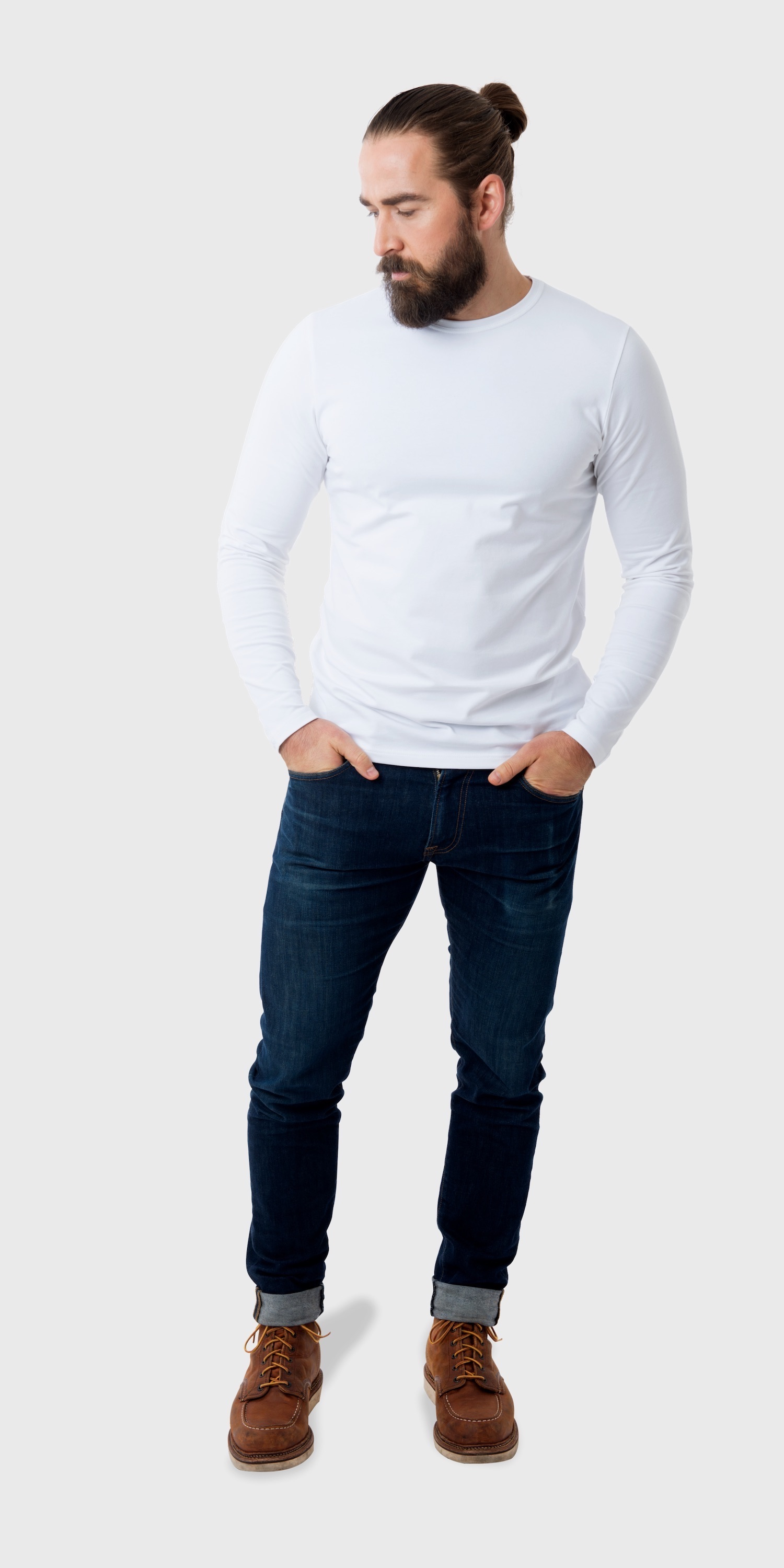 Men's long sleeve fitted white t-shirt