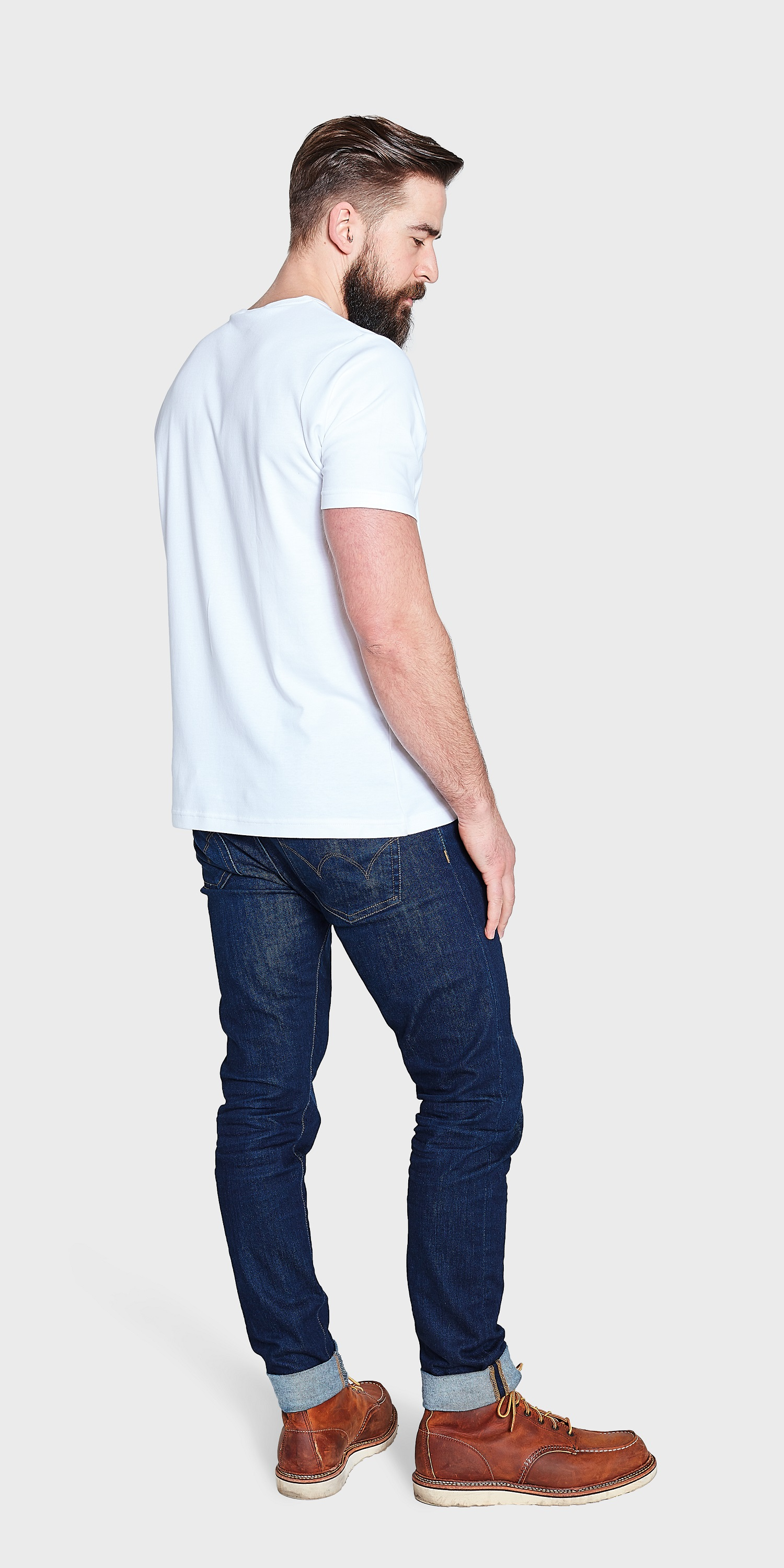 Back Mens White Crew Neck T-shirt organic cotton