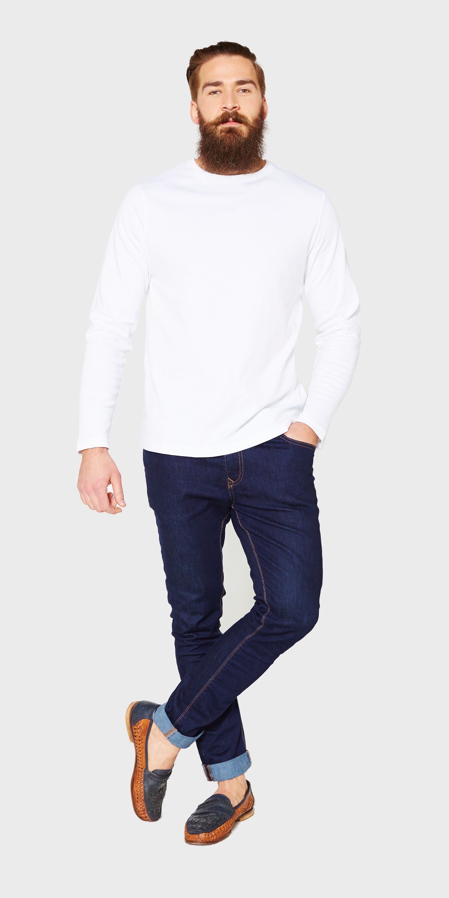 mens long sleeve crew neck white t-shirt