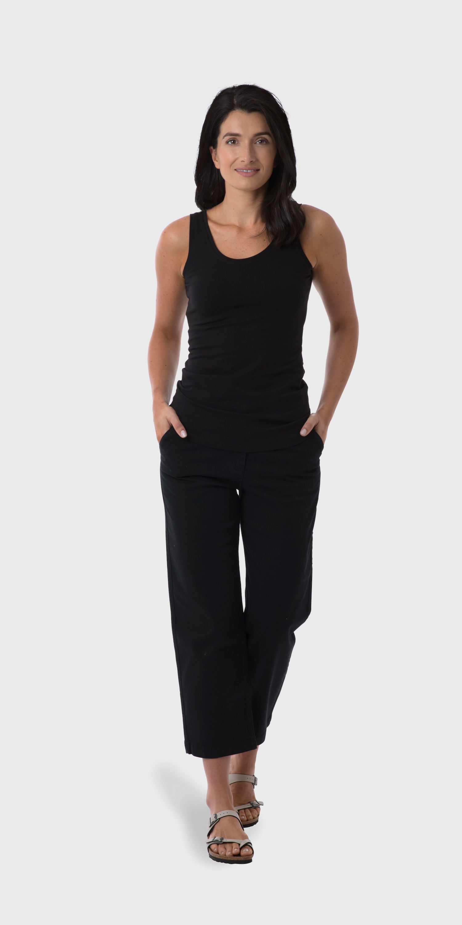 Women's black organic cotton yoga vest