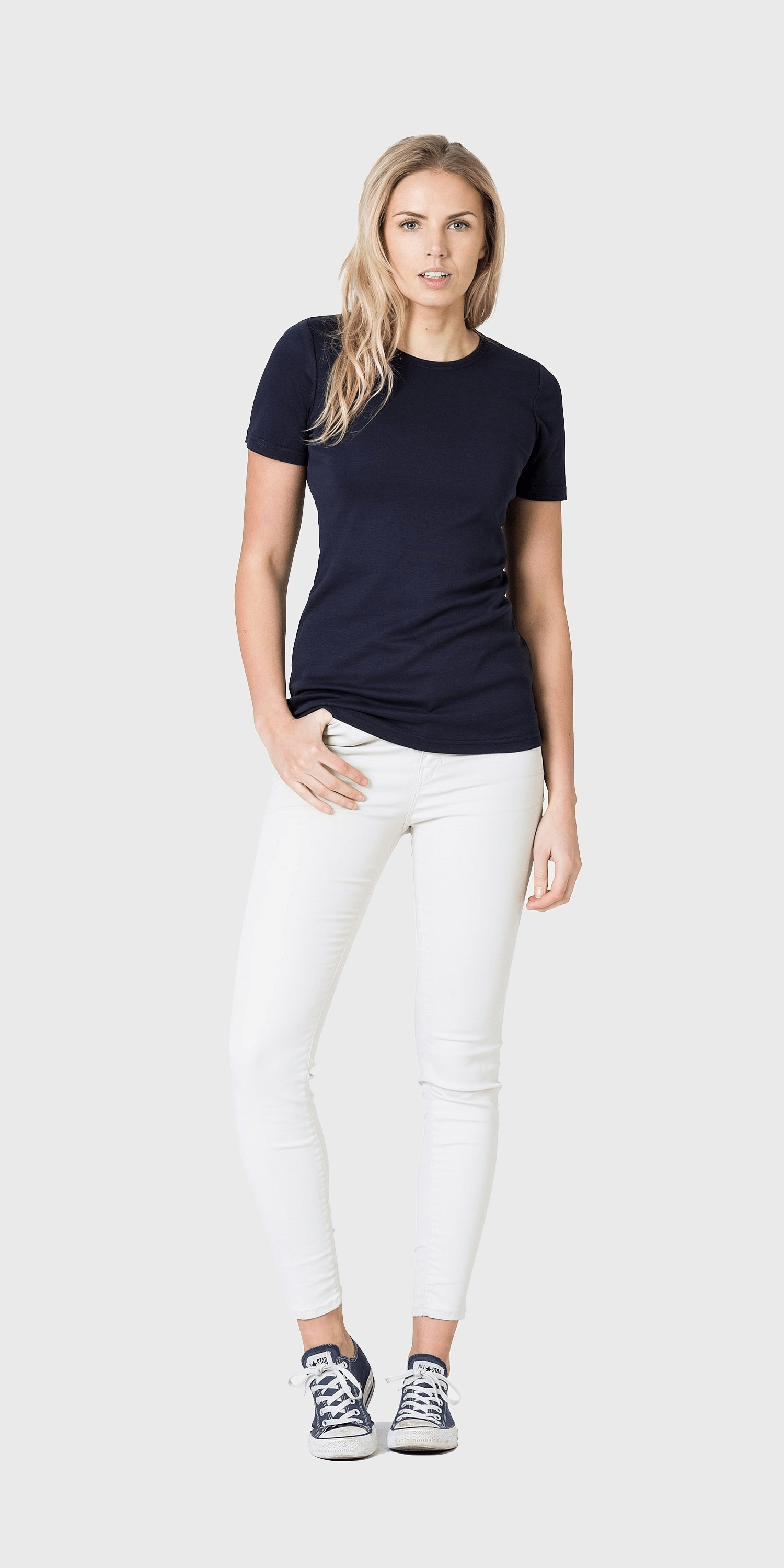 Quality navy organic cotton t-shirt