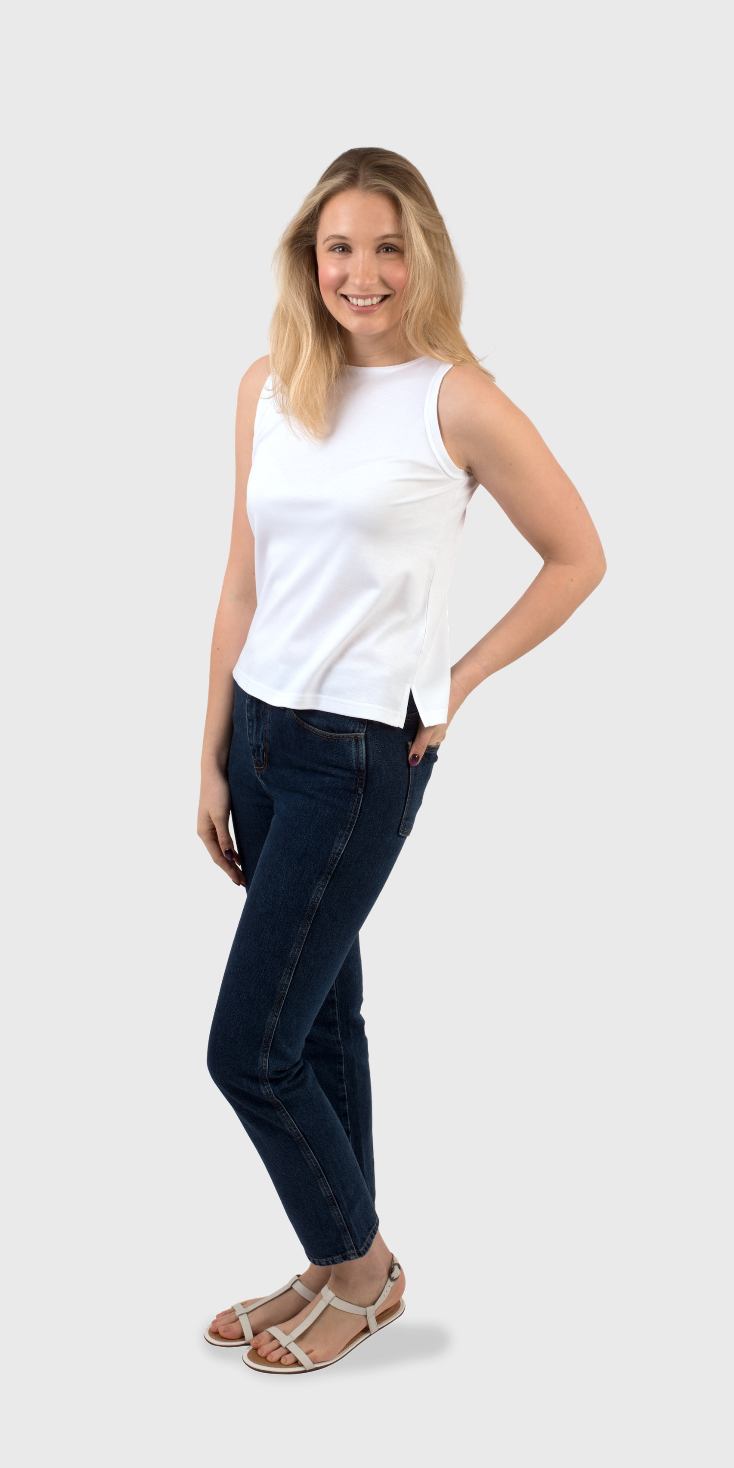 white organic cotton vest