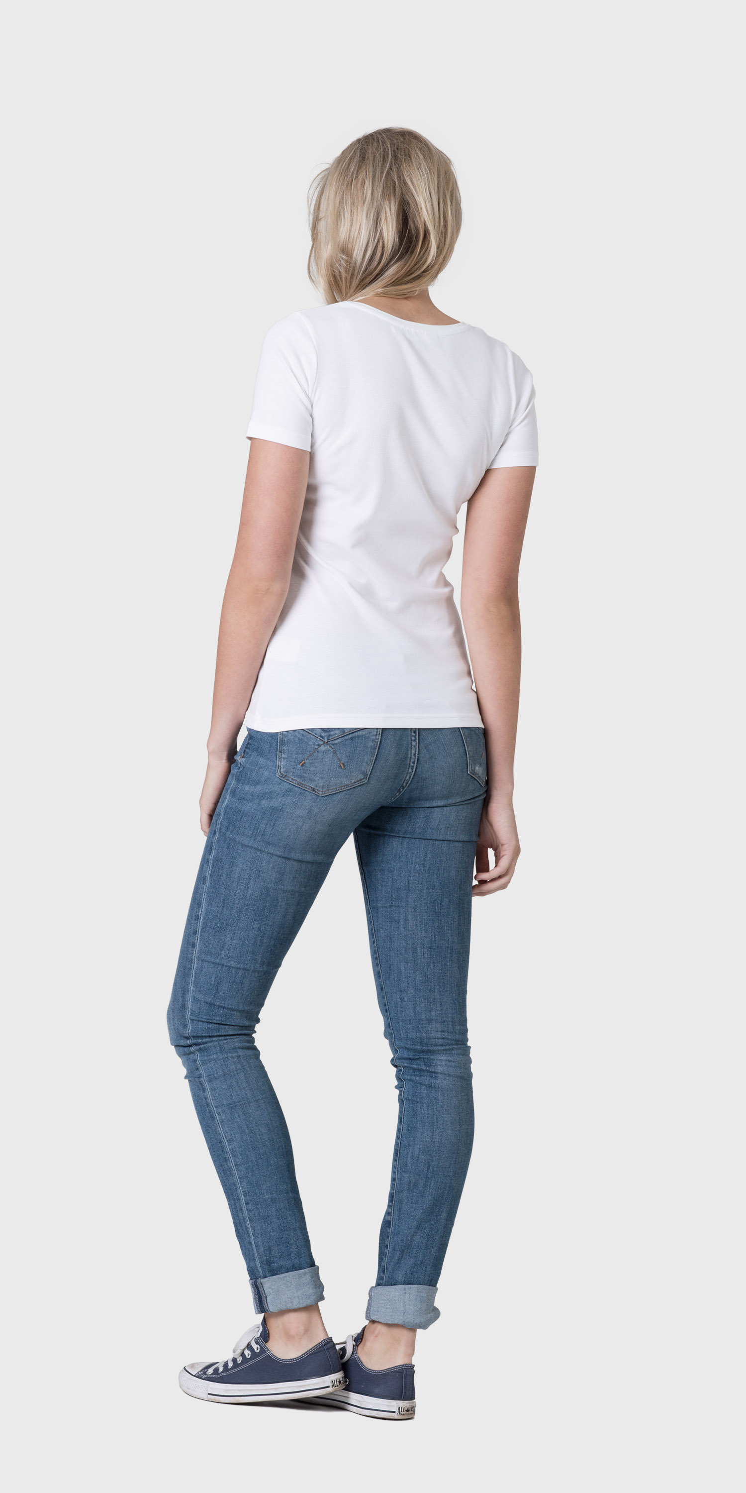 womens white short sleeved scoop neck t-shirt back
