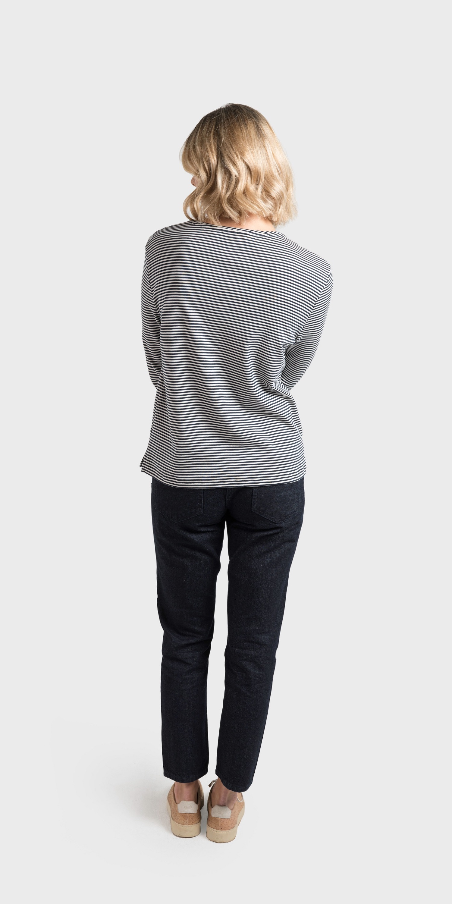 navy stripe breton back view