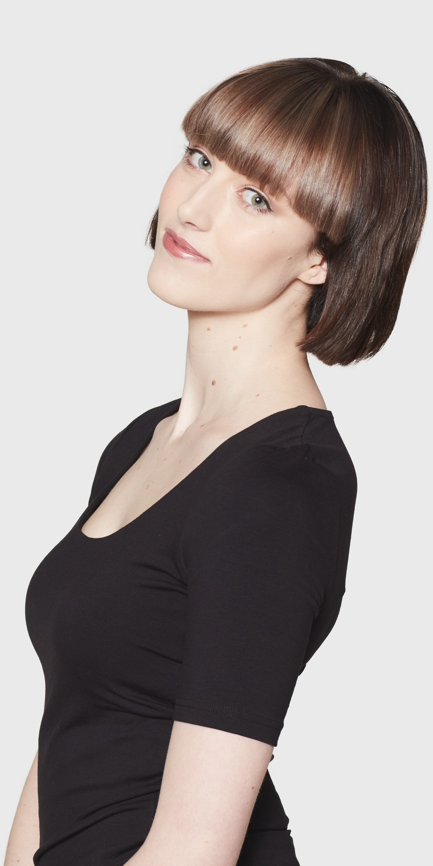 womens black self faced scoop neck