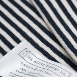 organic cotton navy stripe cotton with label