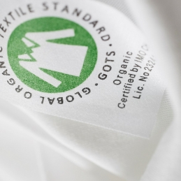 GOTS organic cotton label detail