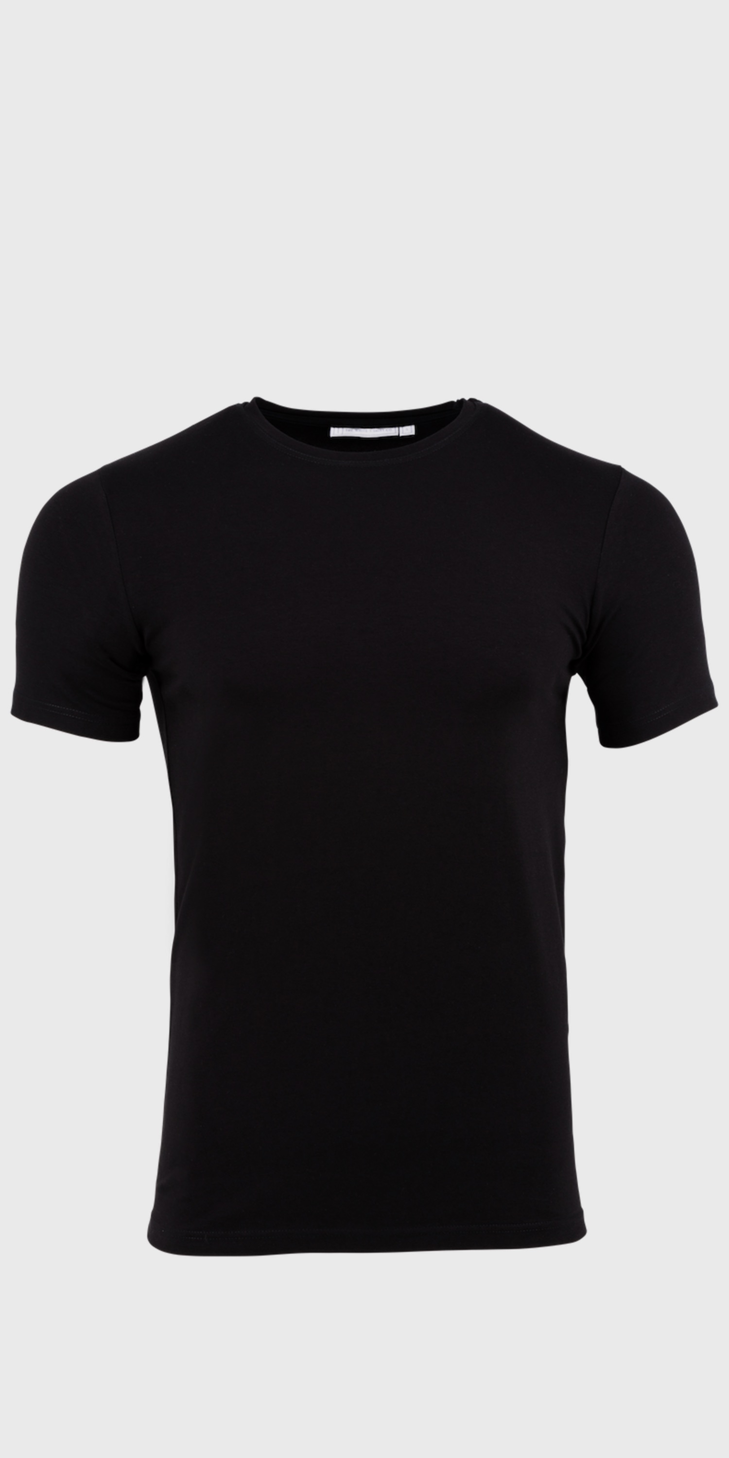 Men's white & black fitted short sleeved round neck t-shirts | The White T-Shirt Co