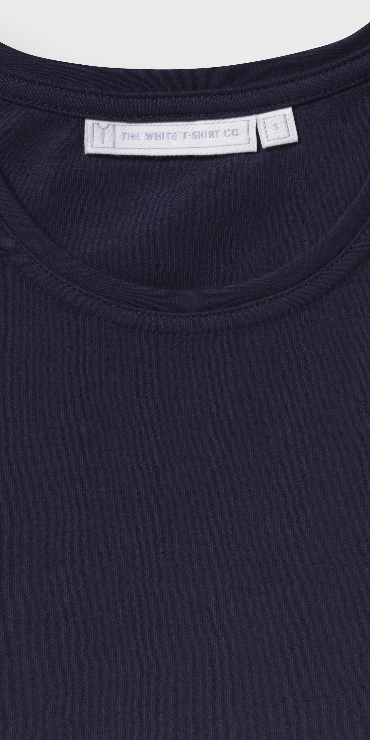 Men's organic navy long sleeve crew neck t-shirt | stitching detail