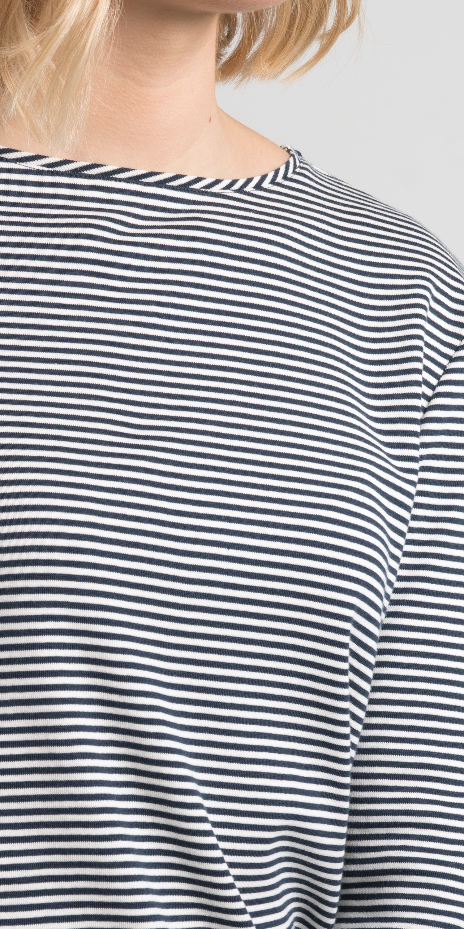 navy stripe womens breton neck view
