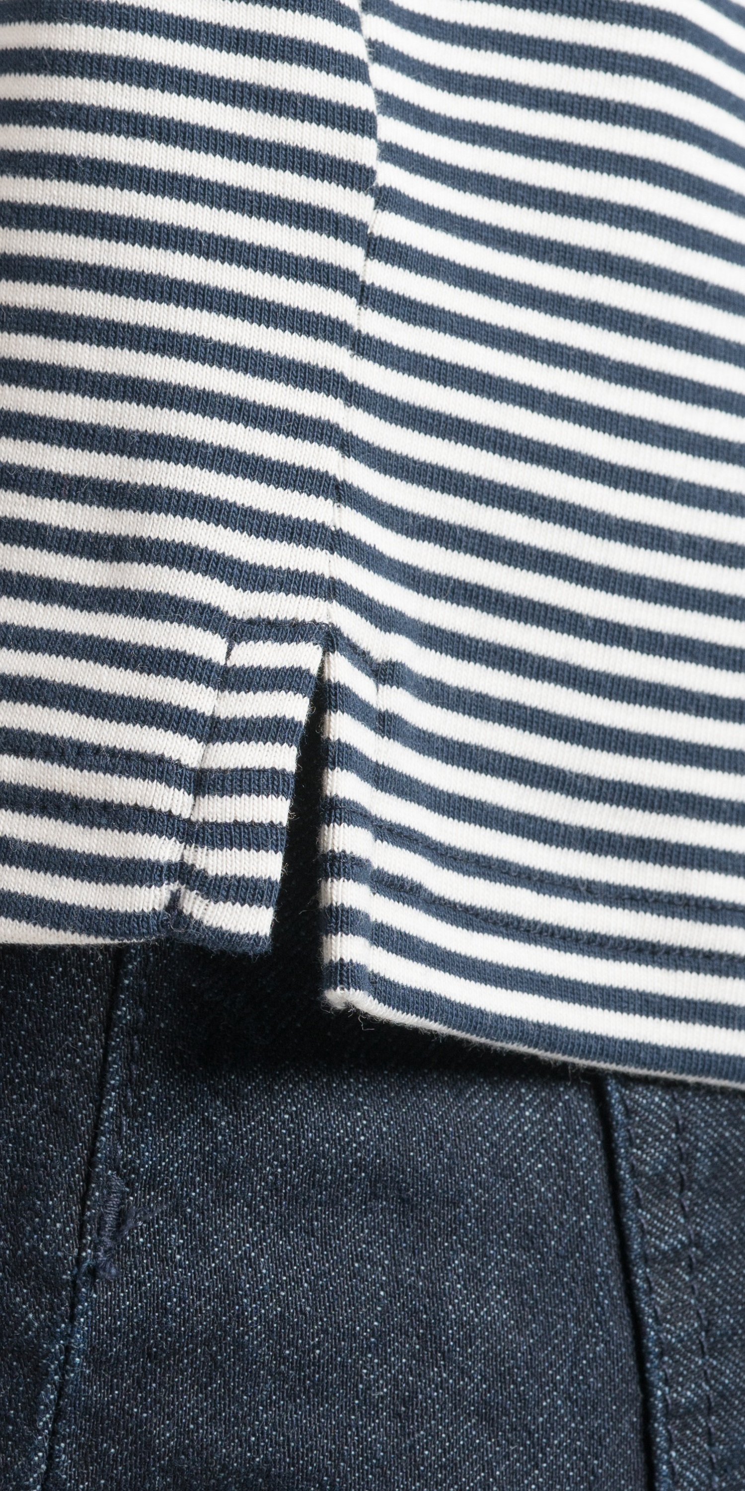 womens breton v stitching detail